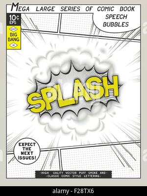 Splash. Explosion in comic style with lettering and realistic puffs smoke. 3D vector pop art speech bubble - Stock Photo