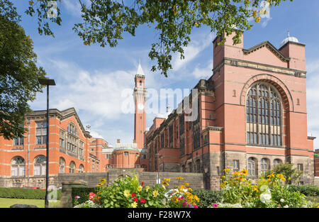 Chancellor's Court and the Joseph Chamberlain Memorial Clock Tower, University of Birmingham, England, UK - Stock Photo
