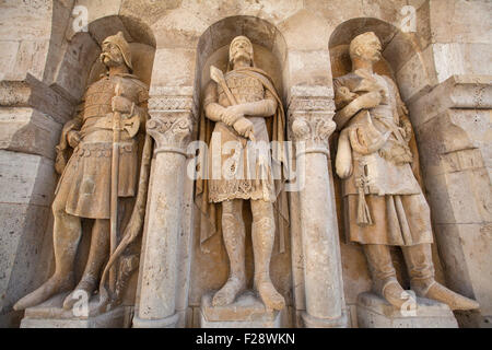 Beautiful sculptures at the Fisherman's Bastion in Budapest, Hungary. - Stock Photo