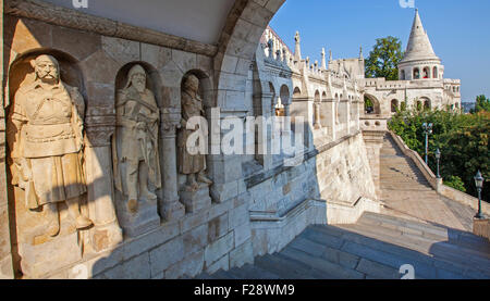 The beautiful Fisherman's Bastion in Budapest, Hungary. - Stock Photo