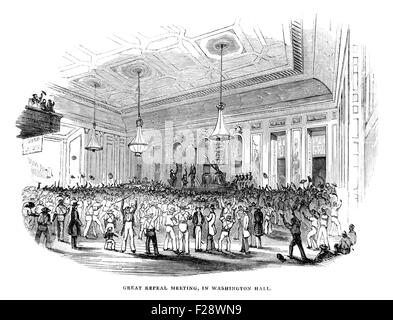 Great Repeal Meeting in Washington Hall June 1844, Illustrated London News July 1844; Black and White Illustration; - Stock Photo