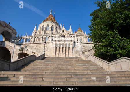 The historic Fisherman's Bastion in Budapest, Hungary. - Stock Photo
