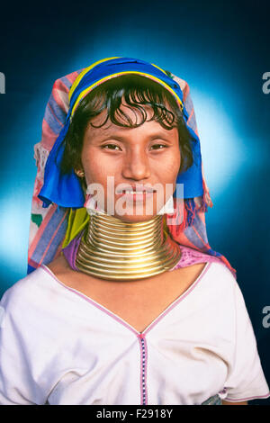 A young woman of the  Karen, Kayin, Kariang or Yang people, originally from Burma or Myanmar, but now living in - Stock Photo