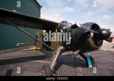 Front View Of A British Army De Havilland Beaver AL MK1 Aircraft - Stock Photo