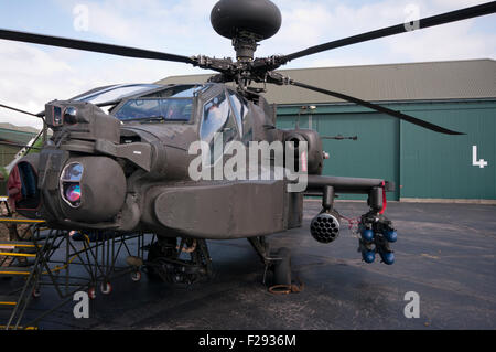 Front view Of A British Army Boeing AH-64 Apache Helicopter - Stock Photo