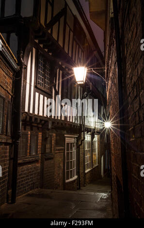 A view down Lady Pecketts Yard in York - one of the city's many historic snickelways. - Stock Photo