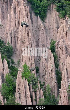 Earth pyramids / fairy chimneys of Longomoso / Lengmoos / Monti di Mezzo on the Renon / Ritten plateau, Tyrol, Dolomites, - Stock Photo