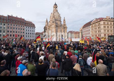 Dresden, Germany. 14th Sep, 2015. Participants of the anti-Islam organisation 'Patriotic Europeans Against the Islamisation - Stock Photo