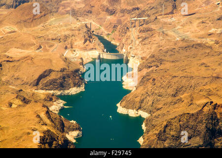 Aerial view of Hoover Dam on Colorado river, Nevada, U.S.A. - Stock Photo