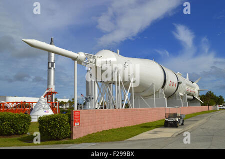 Saturn 1B  Serial number SA 209 rocket on display at Kennedy Space Center Florida - Stock Photo