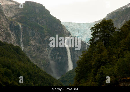 Hanging Glacier - Queulat National Park - Chile - Stock Photo