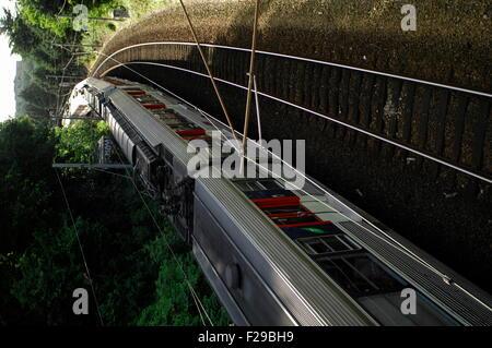 AJAXNETPHOTO. JUNE, 2012. LOUVECIENNES, FRANCE. - RER TRAIN - SUBURBAN COMMUTER TRAIN WEST BOUND. PHOTO:JONATHAN - Stock Photo