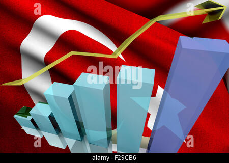 Turkish markets go up and gain money - Stock Photo