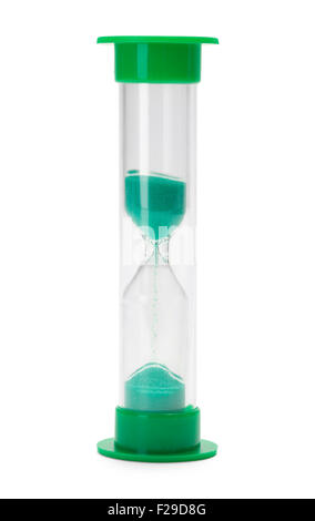 Green Hourglass Timer Isolated on White Background. - Stock Photo