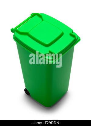 Rolling Trash Can with Copy Space Isolated on White Background. - Stock Photo
