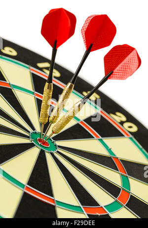 Three Darts in the Bulls Eye on Dart Board Isolated on White Background. - Stock Photo