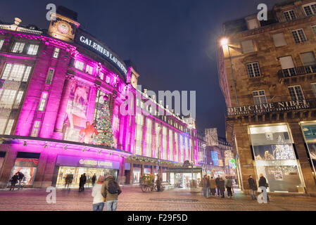 Galeries Lafayette with Christmas lighting. Strasbourg. Europe's best Christmas market 2014. Bas-Rhin. Alsace. France - Stock Photo