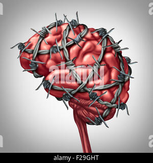Brain pain medical health care concept as a human thinking organ with barbwire or sharp barb wire fence wrapped - Stock Photo