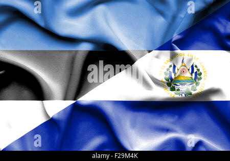 Waving flag of El Salvadorand Estonia - Stock Photo