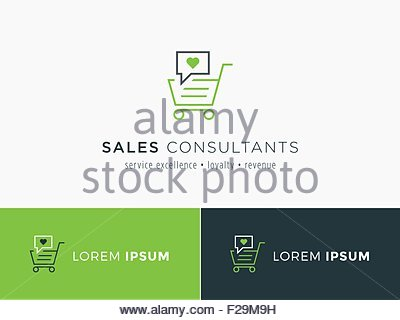 Sales consultant, sales trainer or mystery shopper company logo. Customer satisfaction and sales volume symbol. - Stock Photo