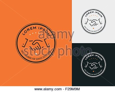 Sales consultant, sales trainer or mystery shopper company logo. Customer satisfaction, partnership and service - Stock Photo