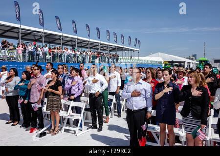 Miami Beach Florida Oath of Citizenship Ceremony immigrants naturalization citizen swearing in new citizens Pledge - Stock Photo