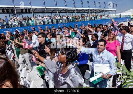 Miami Beach Florida Oath of Citizenship Ceremony immigrants naturalization citizen swearing in new citizens allegiance - Stock Photo