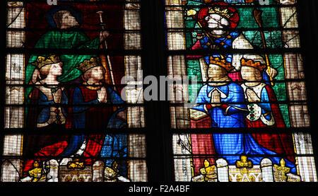 Stained Glass window of Louis of Bourbon in the Vendome Chapel in the Cathedral of Our Lady of Chartres, France - Stock Photo
