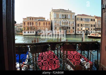 Window view from Palazzo Ca' del Duca to the Grand Canal: Casa Mainella, Palazzo Loredan dell'Ambasciatore, and - Stock Photo