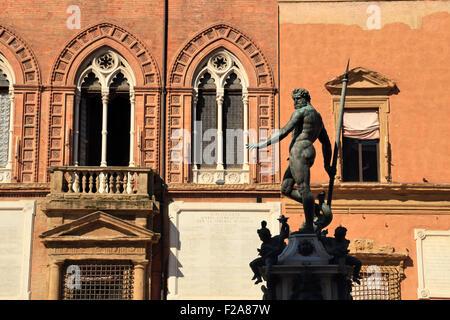 Palazzo d'Accursio, Sala Borsa, Fontana del Nettuno, Statue of Neptune on Piazza del Nettuno in Bologna, Italy - Stock Photo