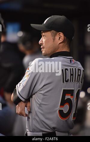 Flushing, New York, USA. 14th Sep, 2015. Ichiro Suzuki (Marlins) MLB : Ichiro Suzuki of the Miami Marlins in the - Stock Photo