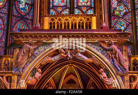 Stained Glass Angels Wood Carvings Cathedral Saint Chapelle Paris France.  Saint King Louis 9th created Sainte Chapelle - Stock Photo