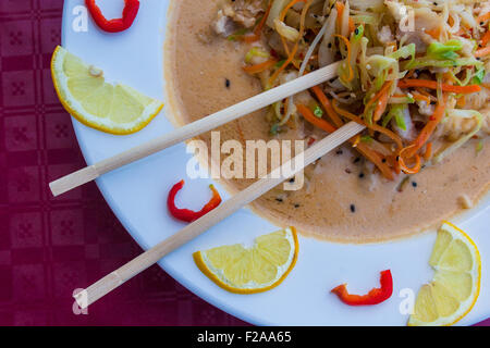 ramen asian noodle soup - Stock Photo