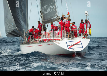 Maxi Yacht Rolex Cup 2015 sail boat race. Porto Cervo, Sardinia, Italy - Stock Photo
