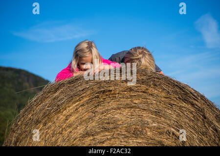 Children blond girl and boy (siblings) resting on hay bale, summer, holiday, relaxing - Stock Photo