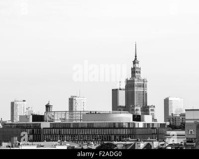 Warsaw city center with modern architecture and the Palace of Science and Culture seen from a viewing terrace in - Stock Photo