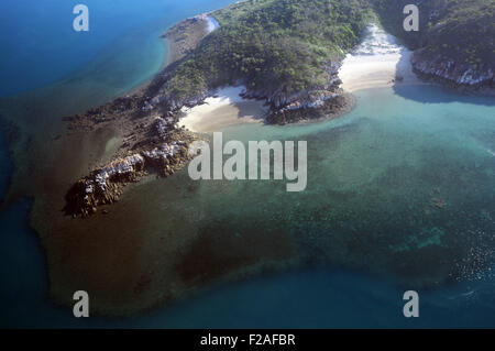 Aerial view of fringing coral reefs and remote beaches of islands in the Buccanneer Archipelago, Kimberley region, - Stock Photo