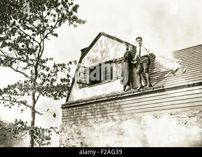 Out on a ledge (OLVI008 OU262 F) - Stock Photo