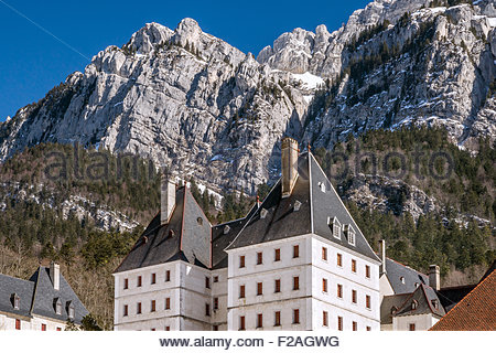 Grande Chartreuse, in Saint-Pierre-de-Chartreuse (France). head monastery of the Carthusian order - Stock Photo