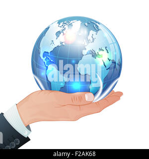 Global Business Concept - Hand with Earth in Realistic 3D style. Template can be used for Cover, Brochure, Poster - Stock Photo