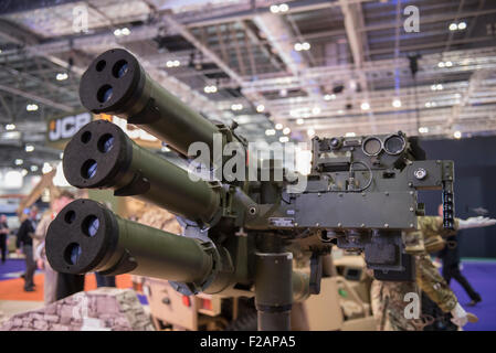 London, UK. 15th September, 2015. Military equipment on display at DSEI, the world's largest international defence - Stock Photo