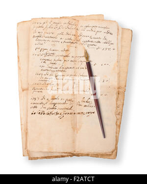 Old mauscripts with nib isolated on white - Stock Photo