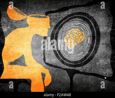 man looking Television washing brain illustration concept - Stock Photo