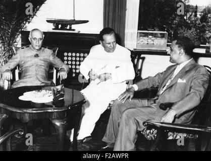 Prime Minister Nehru, Yugoslav President Tito, and Egyptian President Nasser in a conference. July 18, 1956. The - Stock Photo