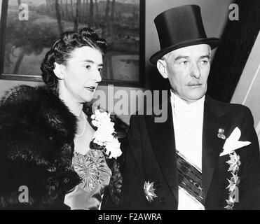 Vladimir Hurban, Czech minister to US, attending the annual White House diplomatic reception. Dec. 15, 1939. Europe - Stock Photo