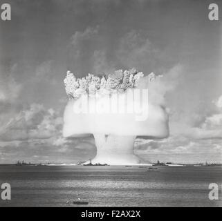 The BAKER test of Operation Crossroads, July 25, 1946. 2 seconds after the underwater detonation, the 'birthday - Stock Photo