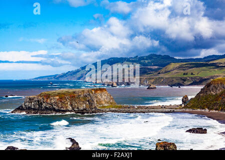 Goat Rock State beach and the outflow of the Russian River  part of the Sonoma Coast State Park - Stock Photo