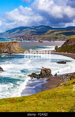 Goat Rock State beach and the outflow of the Russian River  part of the Sonoma Coast State Park Jenner California - Stock Photo