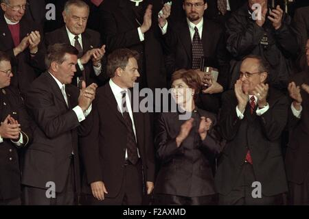 First Lady Laura Bush with Tom Ridge, PM Tony Blair, and NYC Mayor Rudy Giuliani. All three men were mentioned in - Stock Photo
