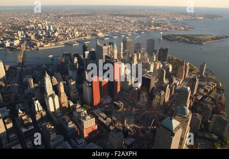 Aerial view of the Lower Manhattan and ruins of the World Trade Center from the northwest. Oct. 8, 2001. New York - Stock Photo